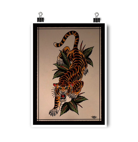 'Crawling Tiger' Digital print by Tony Blue Arms printed by Few and Far Studio for Few and Far Co.