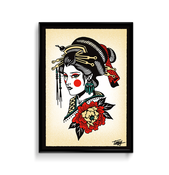 'Geisha' Fine Art Giclee print by Tony Blue Arms printed by Few and Far Studio for Few and Far Co.