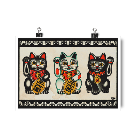 'Maneki-neko' Digital print by Tony Blue Arms printed by Few and Far Studio for Few and Far Co.