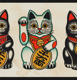 'Maneki-neko' Fine Art Giclee print by Tony Blue Arms printed by Few and Far Studio for Few and Far Co.