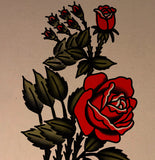 'Blue Arms Rose' Fine Art Giclee print by Tony Blue Arms printed by Few and Far Studio for Few and Far Co.