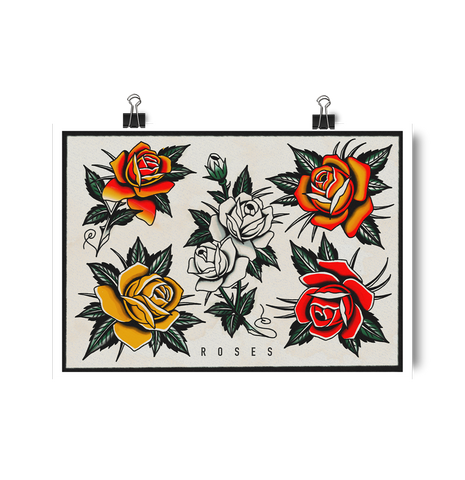 'Roses' Digital print by Tony Blue Arms printed by Few and Far Studio for Few and Far Co.