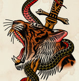 'Snake V Tiger' Digital print by Tony Blue Arms printed by Few and Far Studio for Few and Far Co.