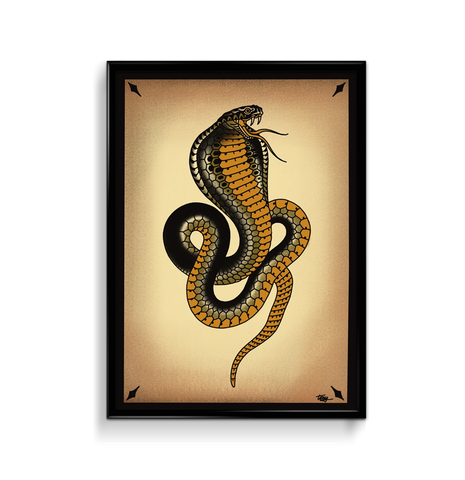 'Cobra 3' Fine Art Giclee print by Tony Blue Arms printed by Few and Far Studio for Few and Far Co.