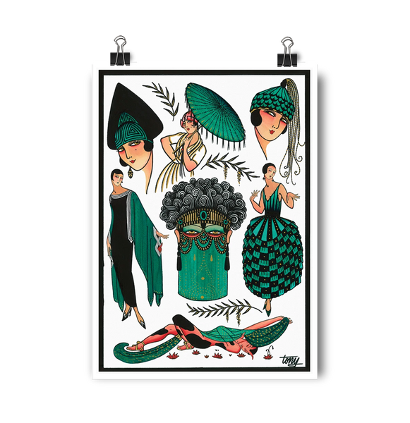 'Erte Deco' Digital print by Tony Blue Arms printed by Few and Far Studio for Few and Far Co.
