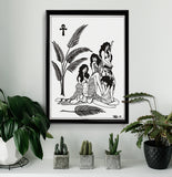 'Girls' Fine Art Giclee print by Tony Blue Arms printed by Few and Far Studio for Few and Far Co.
