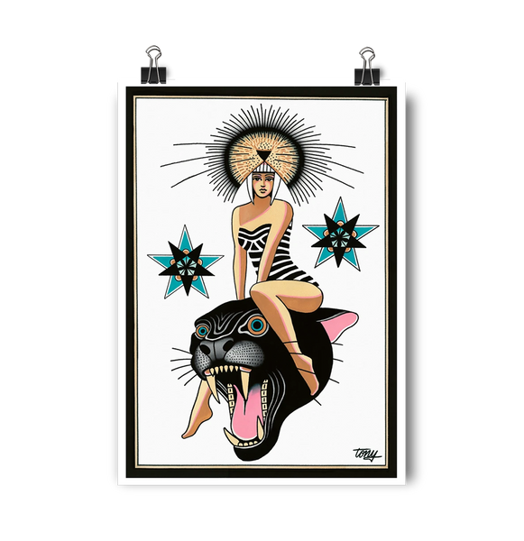 'Panther Goddess' Digital print by Tony Blue Arms printed by Few and Far Studio for Few and Far Co.