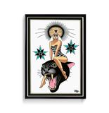 'Panther Goddess' Fine Art Giclee print by Tony Blue Arms printed by Few and Far Studio for Few and Far Co.