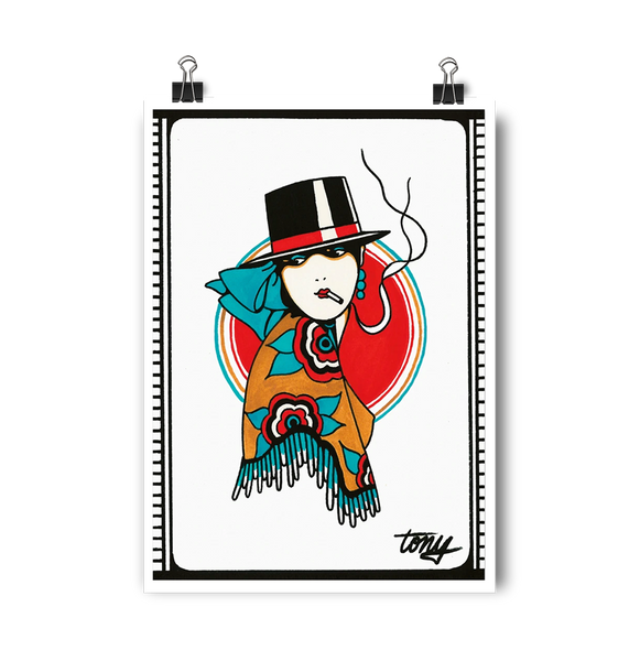 'Poncho Lady' Digital print by Tony Blue Arms printed by Few and Far Studio for Few and Far Co.