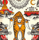 'Tiger Lady' Fine Art Giclee print by Tony Blue Arms printed by Few and Far Studio for Few and Far Co.