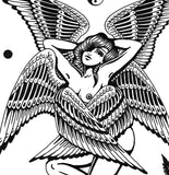 'Winged Lady' Digital print by Tony Blue Arms printed by Few and Far Studio for Few and Far Co.