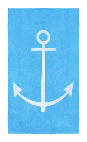 Blue Nautical beach towel with Anchor design