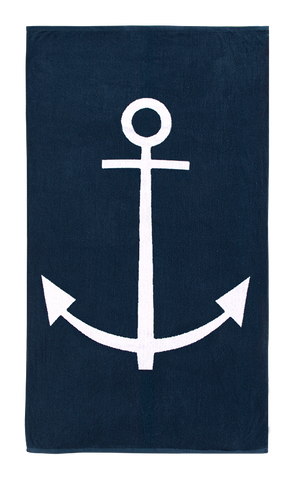 Navy Nautical beach towel with Anchor design