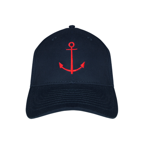 Navy blue baseball cap with nautical anchor design