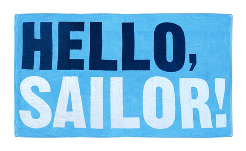 Nautical beach towel with Hello Sailor design