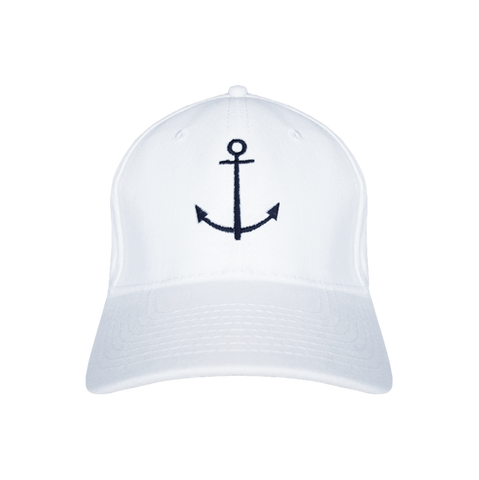 White baseball cap with nautical anchor design