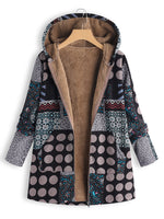 Vintage Long Sleeve Printed Hoodie Pocket Plus Size Coat