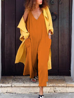 Solid Sleeveless V-Neck Pocketed Jumpsuit