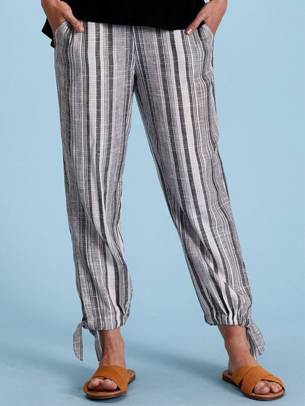 Linen Casual Striped Women Pants