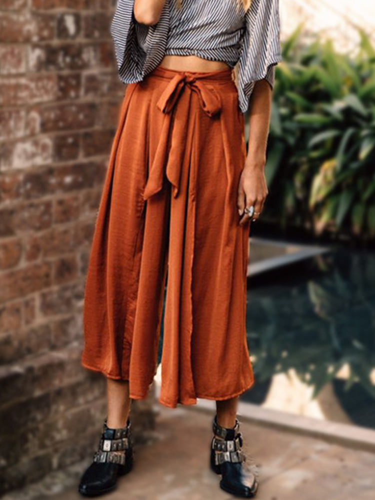 Coffee Lace Up Sheath Solid Boho Pants