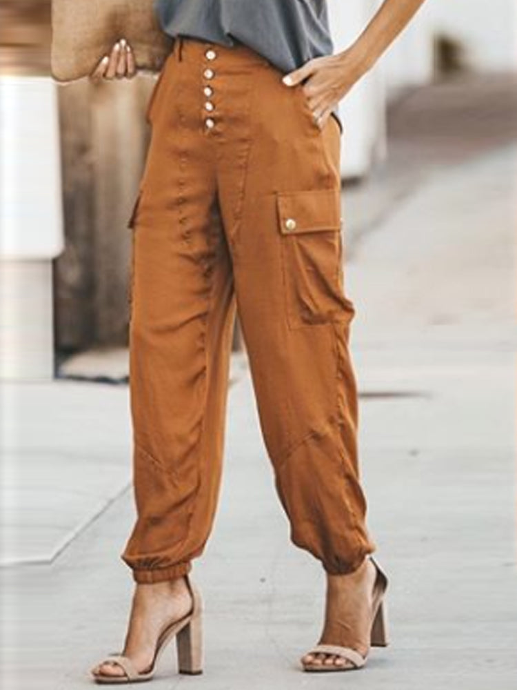 Patchwork Buttoned High-rise Pants With Pockets