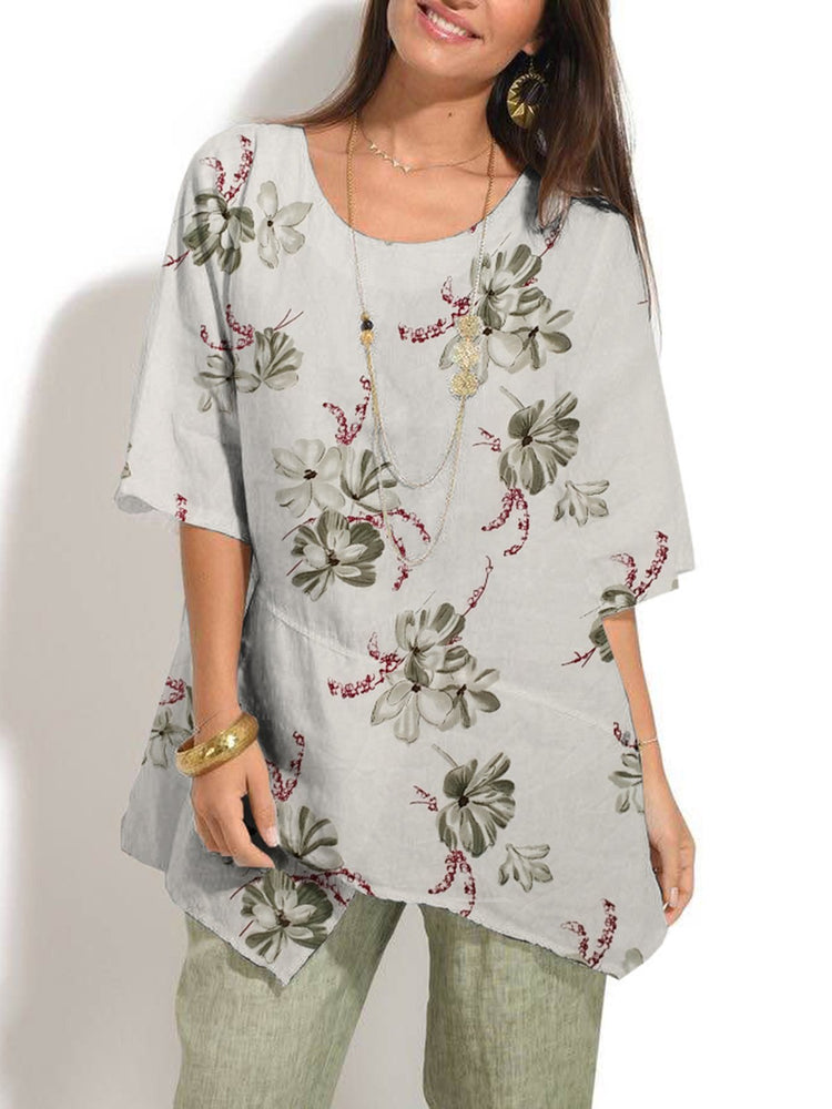 Casual Half Sleeve Floral-Print Asymmetric Top