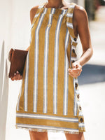 Women Striped Sleeveless  Casual Dress