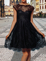 Women Lace Solid Short Sleeve Tutu Mini Dress