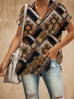 Tribal V Neck Printed Vintage Woman T-Shirt