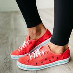 Watermelon Canvas Sneakers Lace-Up Round Toe Casual Women Shoes