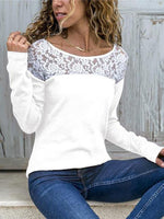 Casual Long Sleeve Crew Neck Blouses&t-Shirts