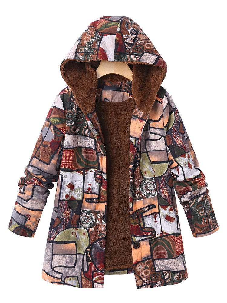 Long Sleeve Hoodie Printed Casual Coat