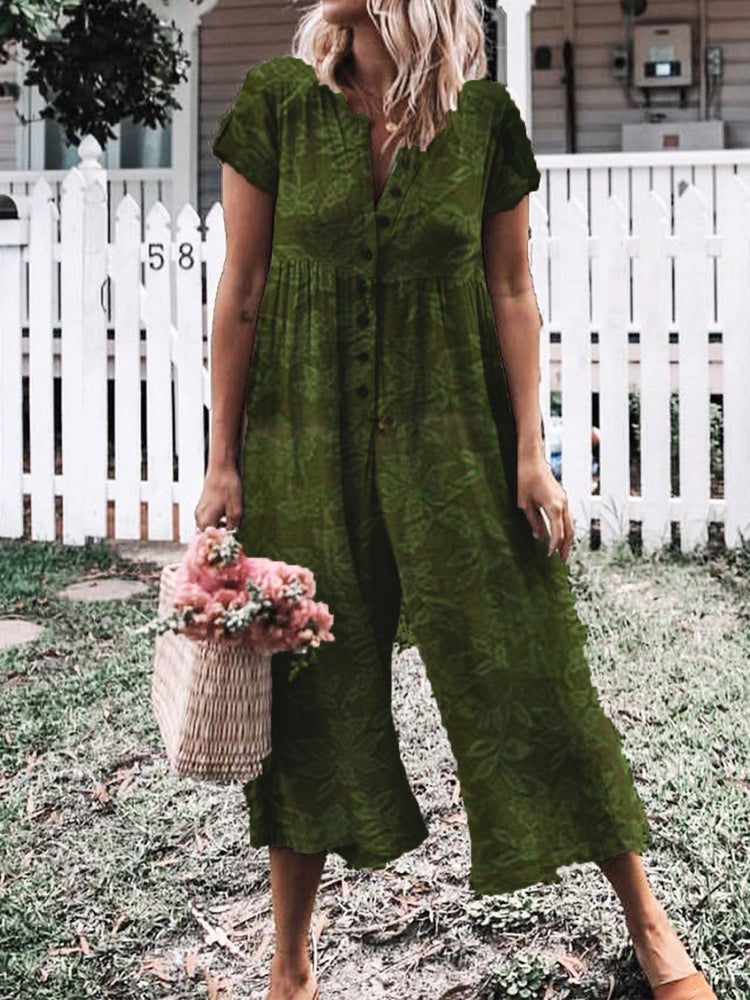 Floral Printed Vintage Short Sleeve Crew Neck Jumpsuits