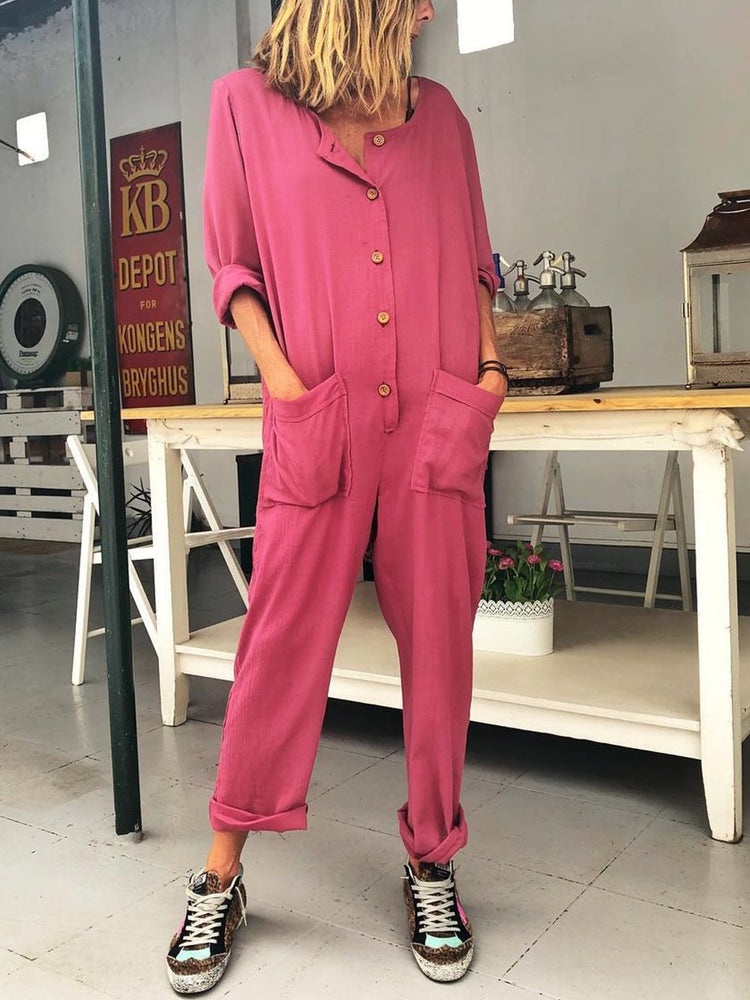 Plus Size Women Long Sleeve Solid  Casual Jumpsuit