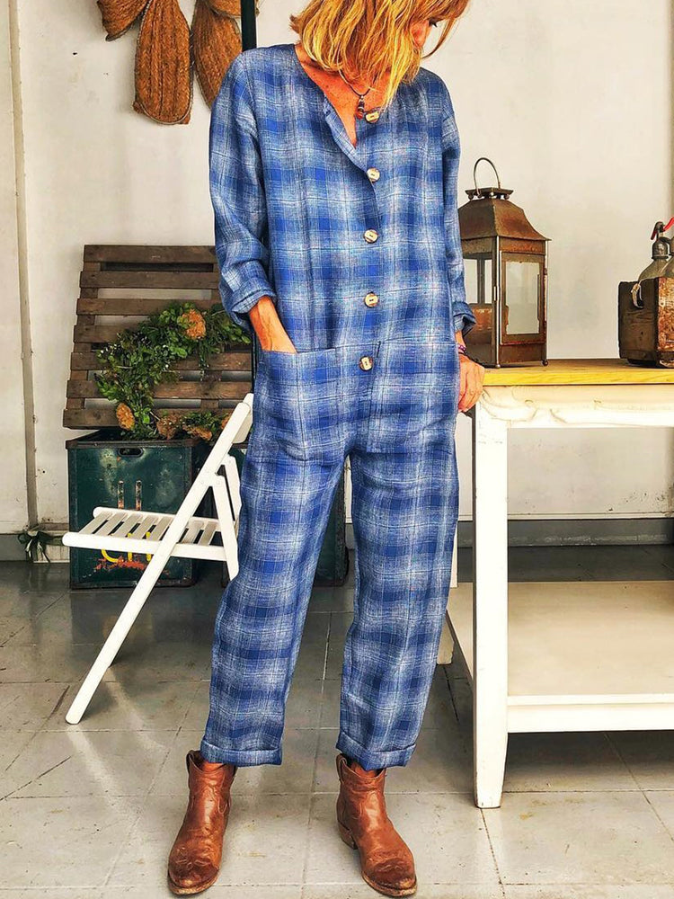 Plus Size  Women  Long Sleeve  Plaid  Casual  Jumpsuit