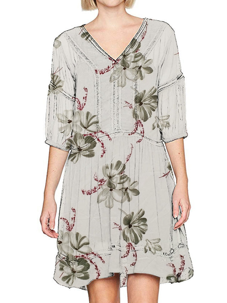 V Neck Daily Printed Floral Woman Dress