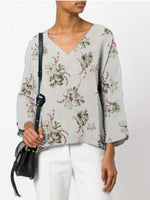 V Neck Long Sleeve Floral-Print T-Shirt