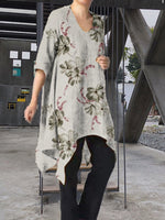 Casual Shift Floral Printed Asymmetric Dress