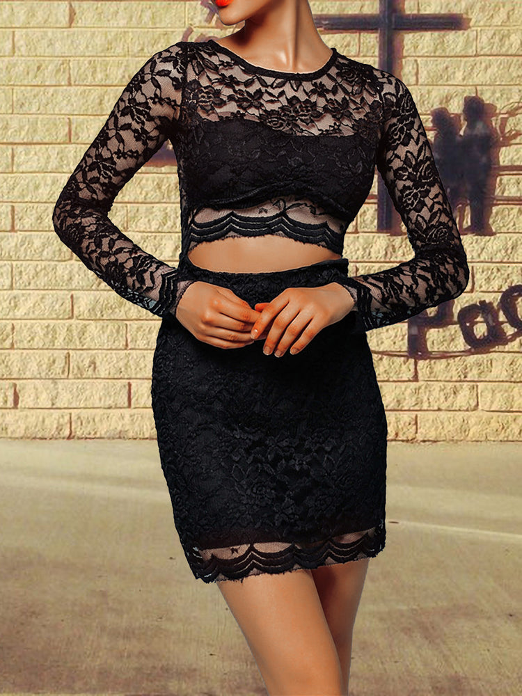 Sexy Lace Bottoming Navel Crew Neck Long Sleeve Dress