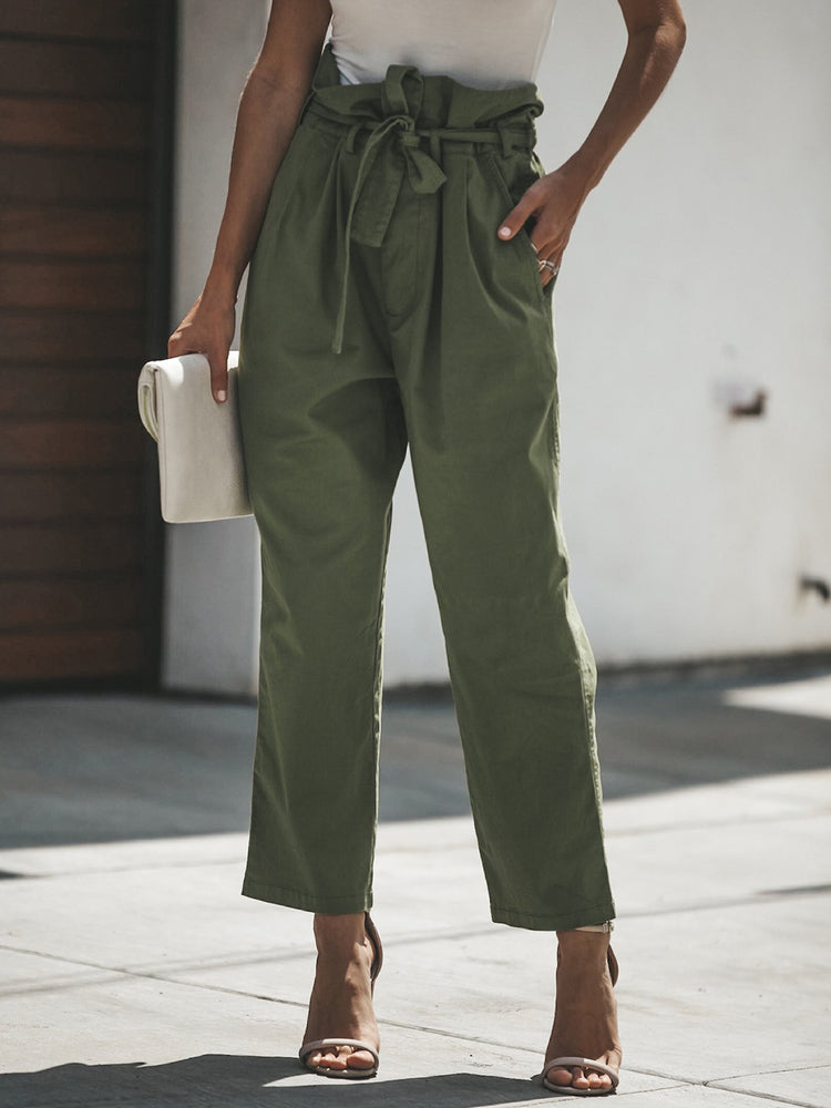 Army Green Casual Solid Pants With Belt