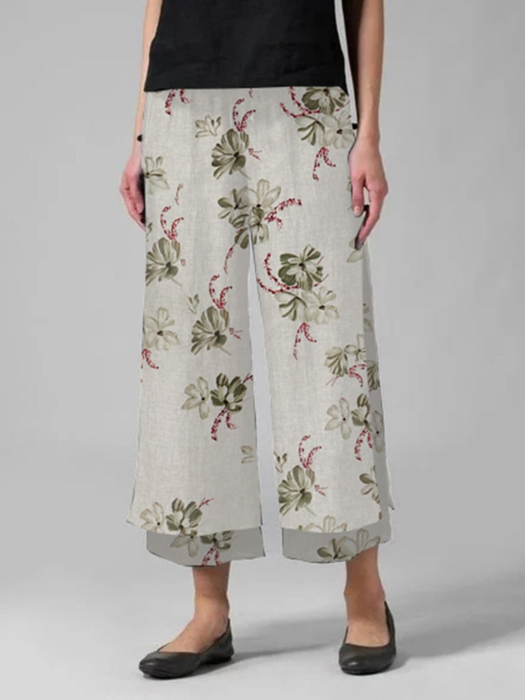 Casual Floral-Print Folds Woman Pant