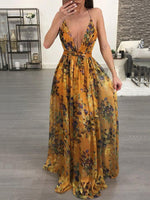 V Neck Women Dresses A-Line Holiday Vintage Floral Printed Maxi Dresses
