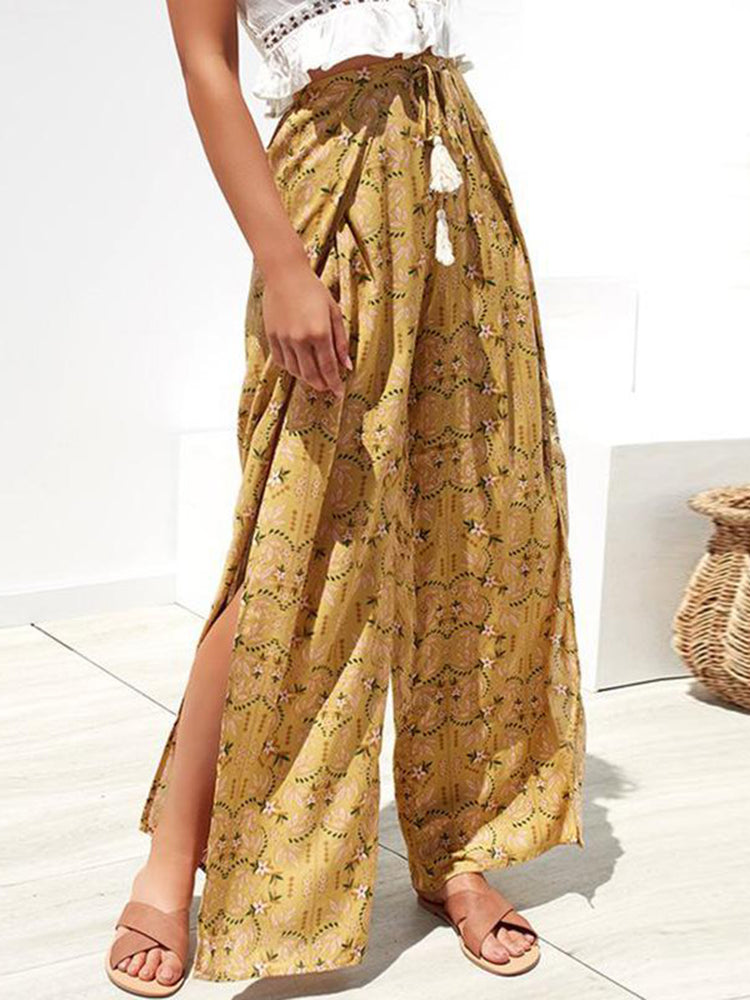 Floral Printed Boho Wide Leg Pants