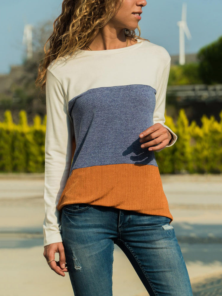 White Long Sleeve Round Neck Patchwork Blouses&t-Shirts