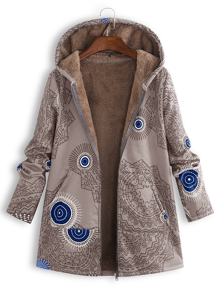 Ethnic Print Fleece Zipper Hooded Autumn Winter Coat