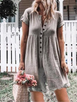 Casual Short Sleeve Buttoned Crew Neck Plus Size Jumpsuits