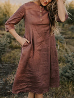 Casual Shift Solid 3/4 Sleeve Midi Dress