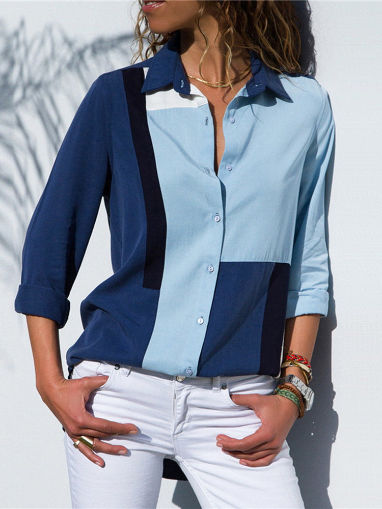 Blue Color-Block Chiffon Casual Shirt