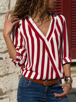 Long Sleeve Striped V Neck Shirt