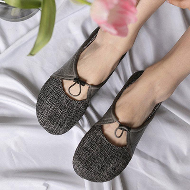 Womens Flats Patchwork Thin Flats Round Toe Womens Shoes